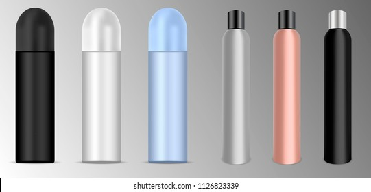 Deodorant or lacquer spray bottles set. Different colours vector illustration. Cosmetic product ads. Round aluminum can packaging with plastic caps.