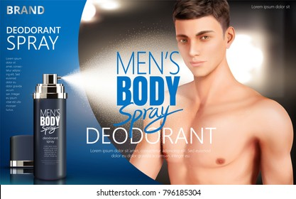 Deodorant spray ads, body spray for men with attractive man and mist effect in 3d illustration