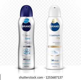 Deodorant spray bottle set on transparent background. Realistic vector illustration