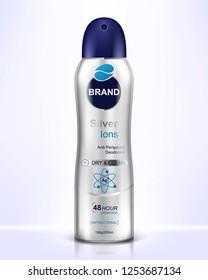 Deodorant spray for women or men. Vector realistic illustration