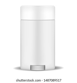Deodorant stick - blank white container with bottom wheel, realistic vector mockup.