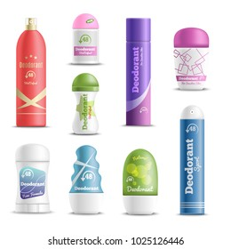 Deodorants spray sticks and roll-on types antiperspirant personal hygiene products realistic objects set isolated vector illustration