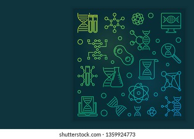 Deoxyribonucleic acid vector colored linear square banner or design element on dark background