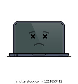 Departed laptop computer isolated emoticon icon. Deceased digital device emoji symbol. Social communication and chatting. Corpse monitor showing facial emotion. Animated notebook vector illustration
