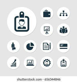 Department Icons Job Set. Collection Of Payment, Billfold, Increasing And Other Department Icon Elements. Also Includes Symbols Such As Contract, Pie, Screen.