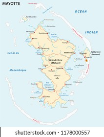 Department of Mayotte road vector map.