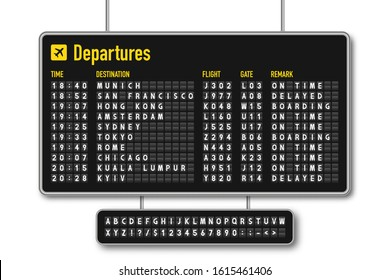 Departure and arrival board, airline scoreboard, mechanical split flap display. Flight information display system in airport. Airport style alphabet with numbers. Vector