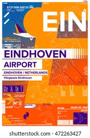 Departure and Arrival sign at Eindhoven Airport Stock Vector Illustration