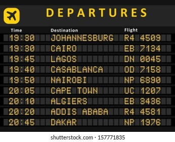 Departure board - destination airports. Busiest airports in Africa: Johannesburg, Cairo, Lagos, Cape Town, Nairobi, Casablanca, Algiers, Addis Ababa and Rabat.