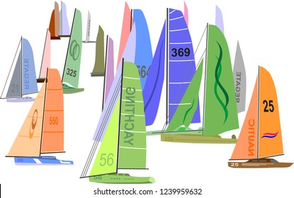 departure at sea of sailboats for competition or regatta,