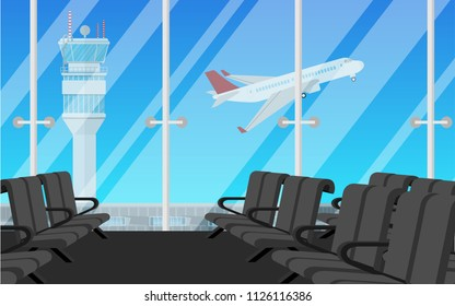 Departure waiting hall in the airport with Many long chair and view of the airport with air traffic control tower (ATC) and airplane is taking off from the airport in summer day time