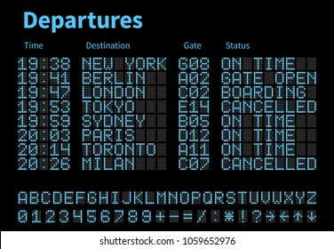 Departures and arrivals airport digital board vector template. Airline scoreboard with led letters and numbers. Airport display digital, scoreboard panel board illustration