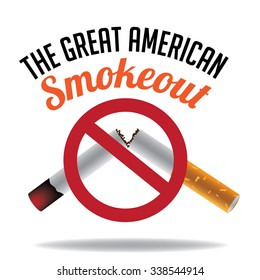 Depiction of the Great American Smokeout day in November. EPS 10 vector royalty-free illustration.