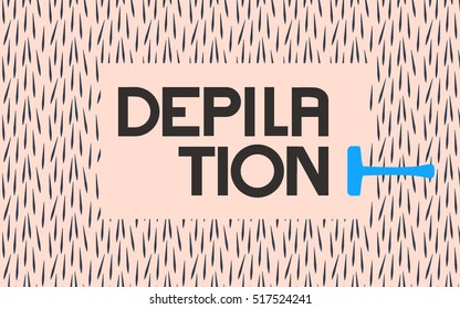 Depilation by shaver. Vector illustration of epilation or depilation procedure. Hair removal. Empty space for text among the hairy texture. Shaving device making free space for your text.