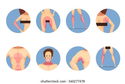 Depilation hair removal zones for men and women cartoon style blue background round icons set isolated vector illustration