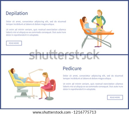 depilation pedicure online posters set woman stock vector royalty