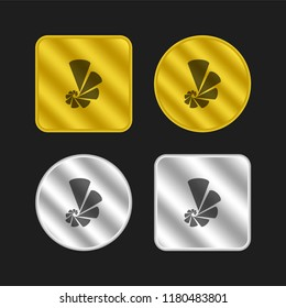 Depleting chart gold and silver metallic coin logo icon design
