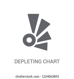 Depleting chart icon. Trendy Depleting chart logo concept on white background from Business and analytics collection. Suitable for use on web apps, mobile apps and print media.