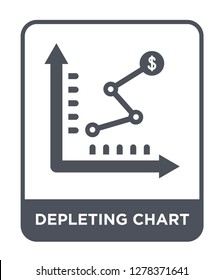 depleting chart icon vector on white background, depleting chart trendy filled icons from Business and analytics collection, depleting chart vector illustration