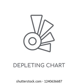 Depleting chart linear icon. Modern outline Depleting chart logo concept on white background from Business and analytics collection. Suitable for use on web apps, mobile apps and print media.