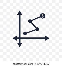 Depleting chart transparent icon. Depleting chart symbol design from Analytics collection. Simple element vector illustration on transparent background.