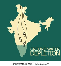 Depleting and lowering groundwater table, India map, vector, illustration.