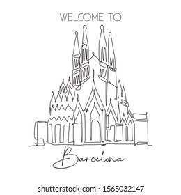 Depok, Indonesia - August 7, 2019: One single line drawing of welcome to Basilica de la Sagrada Familia landmark. World famous place in Barcelona, Spain. Tourism travel post card. Vector illustration