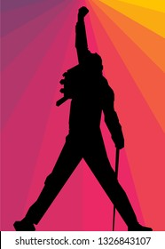 Depok, Indonesia - March 2, 2019: silhouette of singers with colorful backgrounds