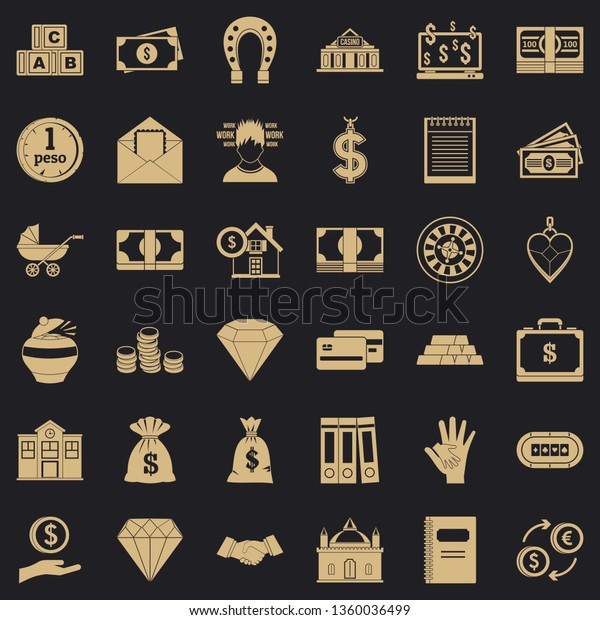 Deposit Account Icons Set Simple Style Stock Vector (Royalty