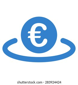 Deposit from BiColor Euro Banking Icon Set. Vector style: flat, cobalt symbol, rounded angles, white background.