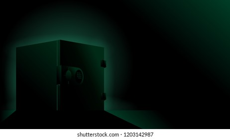 deposit box sillhouette with green futuristic backlight illustration