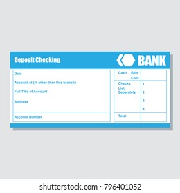 deposit checking account pass book bank payment paper slip with text space to add your identity and amounts. vector illustration