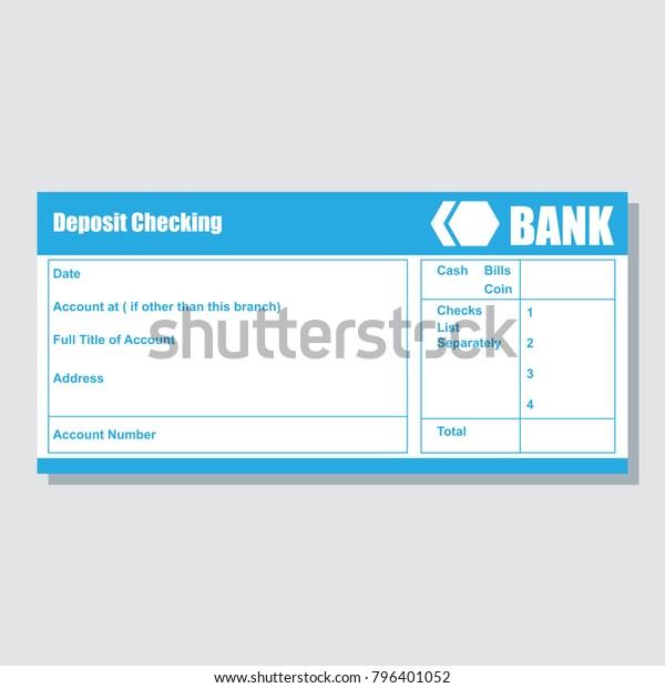 Deposit Checking Account Pass Book Bank Stock Vector
