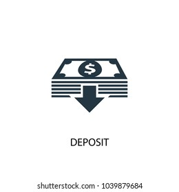 Deposit icon. Simple element illustration. Deposit concept symbol design from Accounting collection. Can be used for web and mobile.