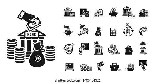 Deposit icons set. Simple set of deposit vector icons for web design on white background