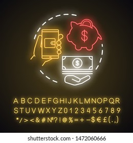 Deposit neon light concept icon. Savings, investments. Casino deposit bonus idea. Digital wallet payment. Cash back and piggy bank. Glowing sign with alphabet, numbers. Vector isolated illustration