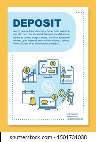 Deposit poster template layout. Accounting and financial advice service. Banner, booklet, leaflet print design with linear icons. Vector brochure page layouts for magazines, advertising flyers