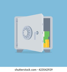 Deposit vector illustration in flat style. Saving money concept. Bank deposit icon isolated from the background.