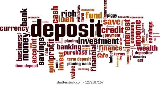 Deposit word cloud concept. Vector illustration