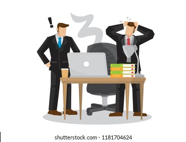 Depress businessmen worried about their project as their computer is damage. Concept of computer virus attack, corporate online security or damaged hardware. Isolated vector illustration.