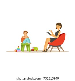 Depressed boy talking to child psychologist about problems, psychotherapy counseling, psychologist having session with patient vector Illustration