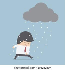 Depressed businessman walking in the rain, VECTOR, EPS10
