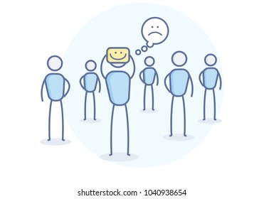 Depressed cartoon character hiding his true feelings. Vector illustration for Loneliness, depression, sadness, introversion and other concepts. Eps10 format