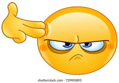 Depressed emoticon making a suicide finger gun gesture
