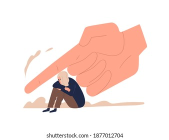 Depressed female teenager sitting under huge hand vector flat illustration. Despair tiny girl victim of control, prohibition, punish and force isolated. Concept of pressure of parents and society