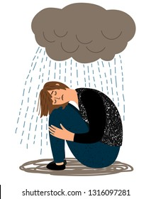 Depressed girl. Cartoon depressive woman and crying rain, ill sorrow miserable unhappy woman depression, miserables depress feeling, vector illustration