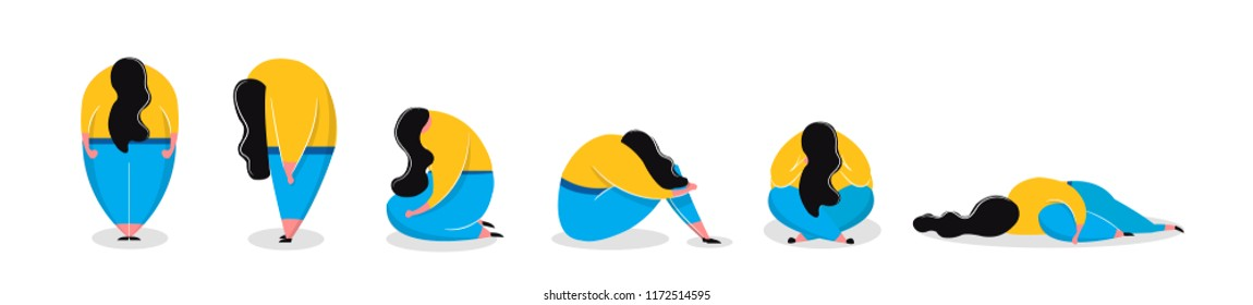 Depressed girl in different poses sad woman standing sitting lying. Mental health problems and treatment of depression psychological help. Vector illustration in cartoon style