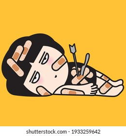Depressed Girl With Stab Wounds From Knife And Arrow On Her Body With Adhesive Plaster. Woman Feeling Too Pain To Recover Her Own Physical And Emotional Injuries Concept Card Character illustration