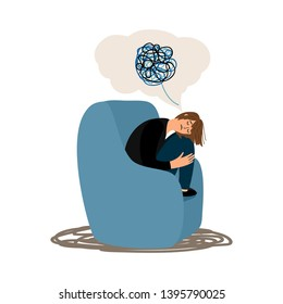 Depressed girl tangled brain vector illustration isolated. Untangle process, difficult human confused mental