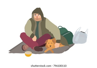 Depressed homeless guy dressed in dirty clothes sitting on carton mat on street, embracing sleeping dog and begging for money. Flat cartoon character isolated on white background. Vector illustration.